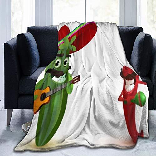 QIUTIANXIU Mantas para Sofás de Franela 150x200cm Caricatura, Tocar la Guitarra, con, Chile, Divertido Manta para Cama Extra Suave
