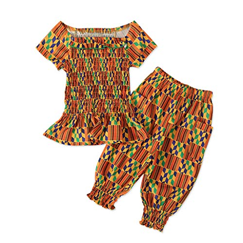 sunnymi® Vêtements pour Bébé Toddler Enfants Bébés Filles Africain Dashiki Tops Tee + Bloomers Pants Style Bohème Combinaison lâche de Dessin Animé Le Costume de bébé Rampant est Sale
