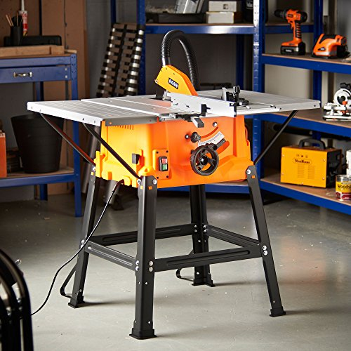 "VonHaus Table Saw - Circular Saw Function 1800W 10"" (250mm) with 5500rpm Underframe – High Spec with Attachable Table Sides – Make Longitudinal & Angle Cuts with Carbide-Tipped Saw Blade Fixable"