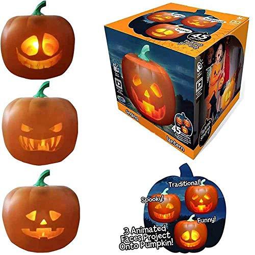 LZZZWER 3 in 1 Halloween Flash Talking animierte LED Kürbis Projektionslampe, lustige seltsame Halloween Dekorationen Nachtlicht, für Ghost Atmosphere Festival Dress Up