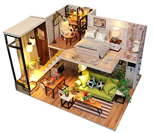 Architecture Model Building Kits with Furniture LED Music Box Miniature Wooden Dollhouse Romance...