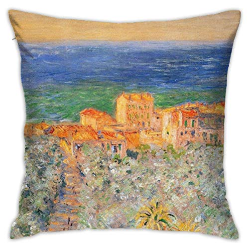 Lucky girlfriend Pillow Covers Decorative Throw Claude Monet Imprionism Burgo Marina at Bordighera Pillowcase Decor Home Sofa Bedroom Square Cushion Printed Car Bed Couch 18''x18'' 45 X 45cm