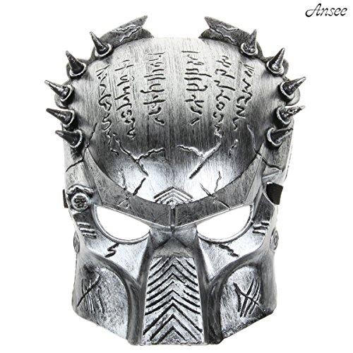 Cool Predator Mask for Halloween Masquerade Cosplay - Silver Gray