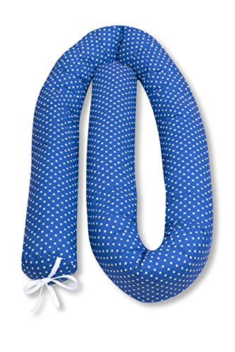 Amilian® Tour de lit en laine à pois Bleu foncé 210 cm