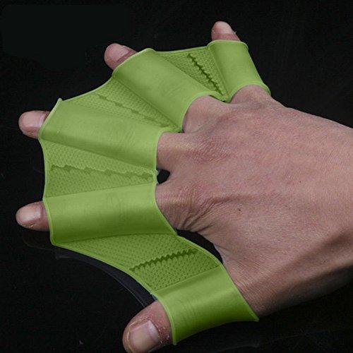 Bodhi2000Engranaje de Silicona Nadar Aletas Mano Aletas palmeadas formación Guante, Verde