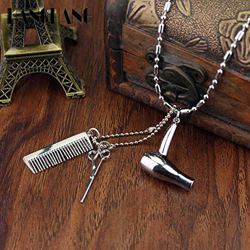 Levin_Art Creative Jewelry Neck lace Tools Hair Dryer/Scissor/Comb Pendants Necklace Barber Shop Hair Dresser Present Necklace