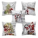 5 piezas de fundas de almohada de Papá Noel de Navidad vintage, fundas de Papá Noel, sofá, cojines de coche, fundas cuadradas de reno, muñeco de nieve, funda de almohada, decoraciones decorativas para