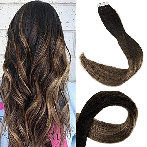 Full Shine Ombre Tape In Hair Extensions Human Hair 16 Inch Glue In Extensions Hair Color 1B Fading To 6 and 27 Honey Blonde Balayage Hair 20 Pcs 50 Grams Per Package