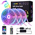 AOGUERBE Led Strip Lights 49.2FT/15M Music Sync Color Changing Light Strip with 44-Keys IR Remote Controller Flexible 5050 RGB LEDs Light Strips Kit for Home, Party, TV, DIY Decoration- APP Controlled