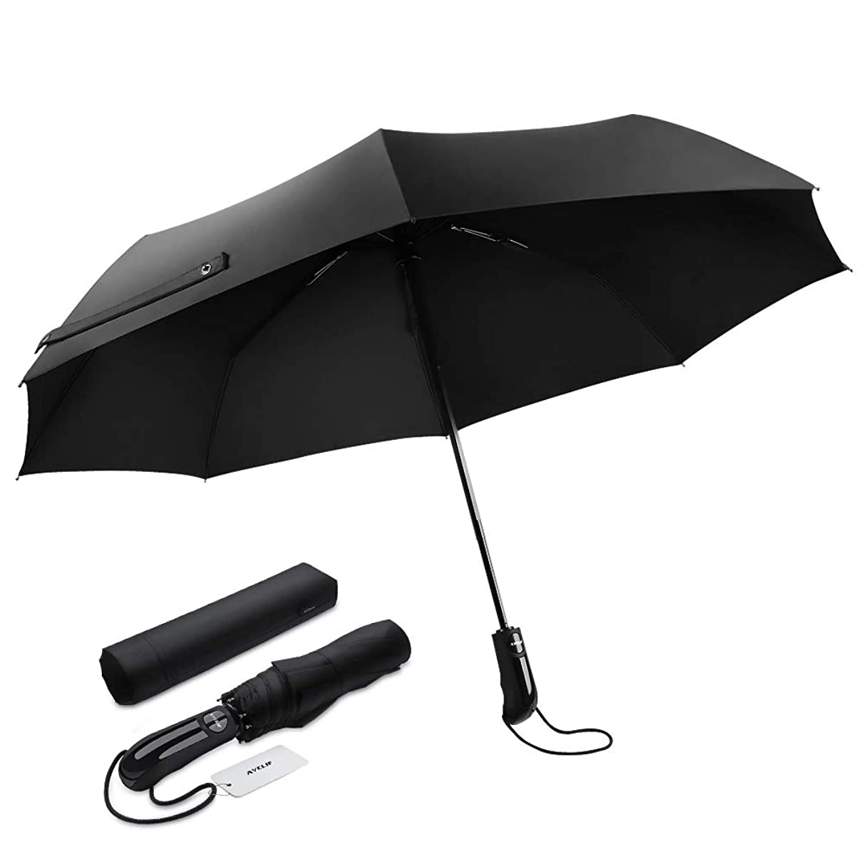 AYCLIF Travel Umbrella, Lightweight Automatic Compact Travel Portable Rain Umbrella Ergonomic Handle, Easy Carrying Auto Open Close Automatic Umbrella Windproof Outdoor Golf Black Umbrella
