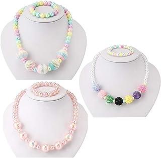 گردنبند و دستبند 3 بچگانه PinkSheep ، مجموعه های دستبند ، پشمی مهره پشمی ، جواهرات دختران کوچک