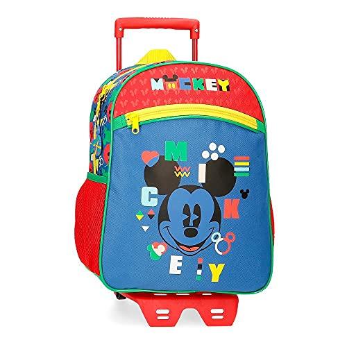 Disney Mickey Shape Shifter Mochila Escolar con Carro Multicolor 27x33x11 cms Poliéster 9,8L
