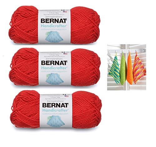 Bernat Handicrafter Cotton Solids Yarn, 1.75 oz, Gauge 4 Medium, 100% Cotton, Red 3-Pack Bundle with Bernat Dishcloth Color Pattern