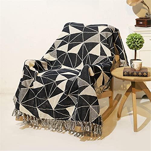 QTWW Toalla de sofá Reversible geométrica nórdica con Estampado Triangular para sofá, Funda cálida para sillón, borlas Suaves, Manta, Toalla, Funda de algodón