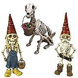 LULE Gartenschädel Zwerg-Skulptur, Kunstharz, Skelett, Zwerg, Ornamente – verleihen Sie Ihrem Garten ein Gefühl von Horror und Geheimnis, Halloween-Requisiten, gruselige Party-Dekoration (3 Stück)