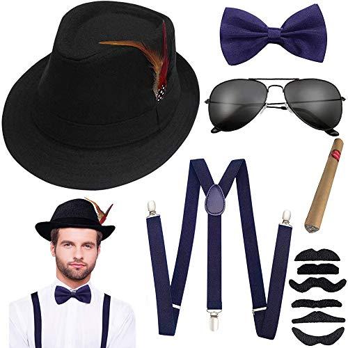 Aperil 1920s Uomo Accessori Anni 20s Dress Costume Set per Fancy Gatsby Kit con Cappello Panama da Gangster Bretella Elastiche Regolabili Papillon e Orologio da Taschino Vintage Sigaro (Blu)