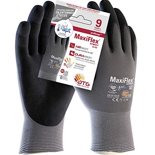 ATG 42-874 MaxiFlex Ultimate Handschuh mit Ad-Apt Technologie, Talla 9, Grau/Schwarz, 1
