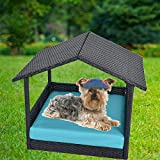 Leaptime Pet Playpens Black PE Wicker with Cushion Outdoor Indoor Use for Small Animals (Turquoise)
