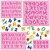 4 Pieces Letters Silicone Mold Number Silicone Mold Uppercase Letters Silicone Fondant Mold Lowercase Letters Chocolate Mold Handmade Soap Mold Biscuit Ice Cube Tray for Desserts (Pink)