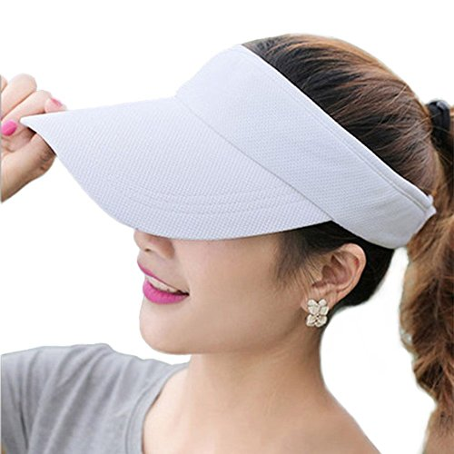 Fasbys Summer Outdoor Sports Beathable Long Brim Empty Top Baseball Sun Cap Hat Visor (White)