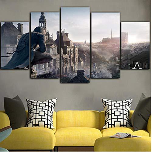 Rjbzd 5 Stück Leinwand Wasserdichte Tinte Ölgemälde Assassins Creed Leinwandbilder Für Zimmer Wandbild Wand Drucke Poster