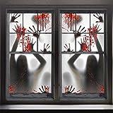 FUNNISM 2PCS Halloween Haunted House Decoration Window Door Cover,Scary Zombie Hands Halloween Window Cling Window Poster,Creepy Garage,School Dormitory,Outdoor/Indoor,Skeleton Window Door Decoration