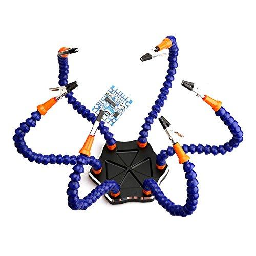 Lötstation Werkzeug mit 6 Helfende Hände, dritte Pana Hand (6 Arme, rutschfeste Aluminiumbasis, eingebaute Schalen, hitzebeständige Abdeckungen, 360 Grad schwenkbare Klipps