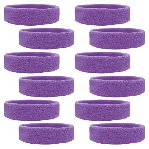 Kenz Laurenz 12 Sweatbands Cotton Sports Headbands Terry Cloth Moisture Wicking Athletic Basketball Headband (12 Pack) (12 Pack - Purple)