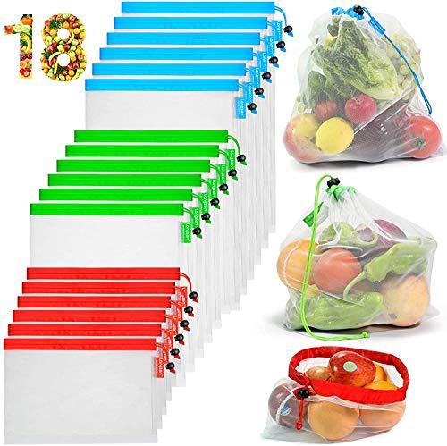 longzon 18 Pcs Bolsas Compra Reutilizables Ecológicas Bolsas Malla Reutilizables para Fruta para Almacenamiento Verduras Juguetes Lavable (6L+6M+6S)