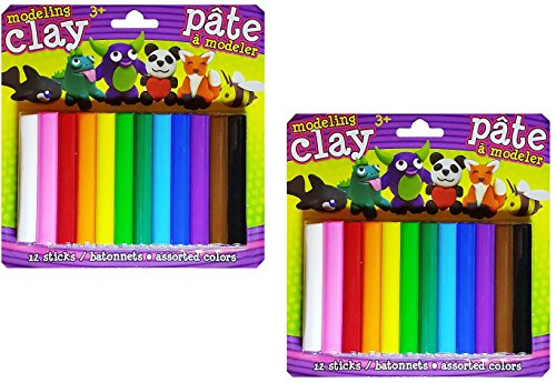 Modeling Clay - 24 Assorted Color Sticks NON Toxic (3.3 in. x 1 in. each) NONHARDENING