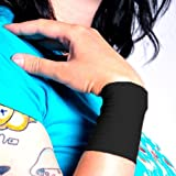 Tat2X Ink Armor Premium Wrist 3' Tattoo Cover Up Sleeve - Super Comfy - U.S. Made - Black - ML (single wrist cover sleeve)