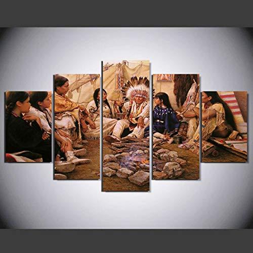 alicefen 5 Pièces Peintres Américains Alfredo Rodriguez Indian Life Accueil Mur Décor Toile Image Art HD Imprimer Peinture sur Toile Oeuvres Impressions sur Toile-Frame