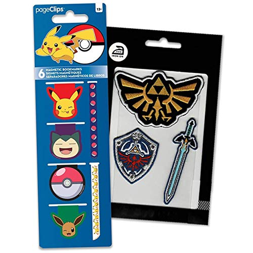 Pokemon Page Clips Pickachu School Supplies Bundle ~ 4 Pokemon Bookmarks Magnetic Page Clips for Kids | Pokemon Party Favors with Legend of Zelda Patches