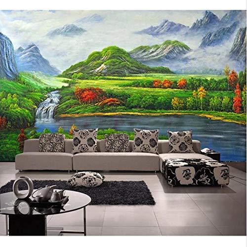 Guyuell Kundenspezifischer Wandtattoo Des Raumes 3D Wandvlies-Wandaufkleber Seewasserfall-Fotomalerei Fernsehhintergrundwand 3D Tapete-450Cmx300Cm