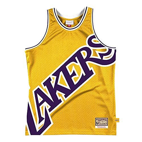Mitchell & Ness M&N Big Face 2.0 - Maglia da basket HWC Los Angeles Lakers, Uomo, Oro, XL