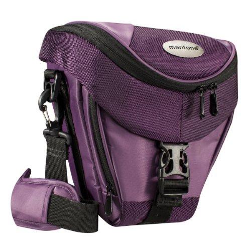Mantona Colt Kameratasche (Universaltasche inkl. Schnellzugriff, Staubschutz, Tragegurt und Zubehörfach, geeignet für DSLR- und Systemkameras) lila