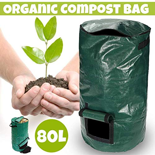Buy Discount Yard Waste Bags 80L Home Durable Organic Waste Kitchen Garden Yard Compost Bag Portable...