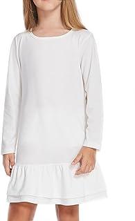 Arshiner Girls Cotton Long Sleeve A-Line Ruffle Hem Dress for School