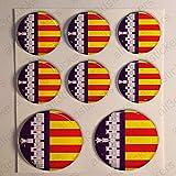 Pegatinas Bandera Mallorca Redondas 8 x Pegatina Mallorca Resina Relieve 3D Adhesivo Vinilo