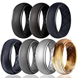 Egnaro Silicone Wedding Ring for Men, Particularly Breathable Mens' Rubber Wedding Bands, Size 8 9 10 11 12 13, for Athletes Crossfit...
