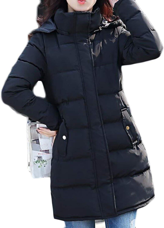 BU2H Women's Slim Fit Solid Warm Hoodie MidLong Parka Coat Outwear