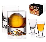 JBHO Hand Blown Crystal Double Old Fashioned Cocktail, Solid Whiskey Glasses, Rocks Glasses, Lowball Glasses - 12 Ounce - set of 2 - Perfect Size for Oversized Ice Cubes - Extra 1.5 Ounce Shot Glasses