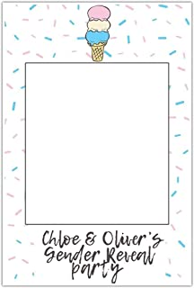 Ice Cream Gender Reveal Baby Shower Selfie Frame Social Media Photo Prop Poster