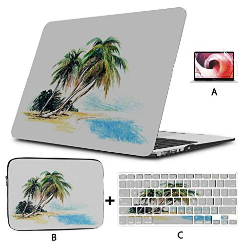 MacBook Air 13 Inch Case 2020 2019 2018, Drawing Beach Palm Trees Vector Illustration Plastic Hard Shell,Sleeve Bag,Keyboard Cover,Screen Protector Compatible with MacBook Pro 13 Inch USB-c