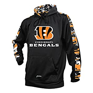 Zubaz NFL Cincinnati Bengals Men's Camo Print Accent Team Logo Synthetic Hoodie, Medium, Black