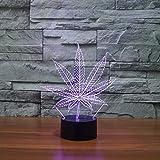 Solo 1 pieza Hoja de arce táctil colorida luz led luz nocturna creativa lámpara de mesa con iluminación usb 3d lámpara de mesa que cambia de 7 colores