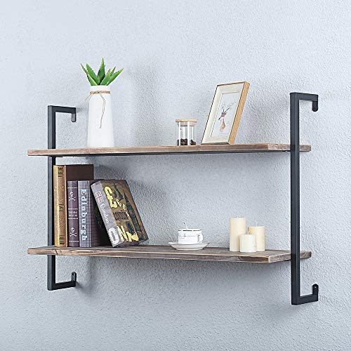 JAXSUNNY 3-Tier Wood Pipe Industrial Wall-Mounted Shelves Shelving Unit with Metal Frame Storage Bookshelf, Safe and Sturdy, Rustic Brown