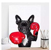 chenjiaxu 北欧スタイルのボクシング犬のキャンバスフレームなしアートプリント絵画ポスター面白い漫画動物の壁の写真キッズルームの装飾-50x70cmフレームなし