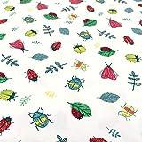 0,5m Jersey weiß Bunte Käfer & Blätter Gartenserie 95%