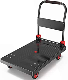 QIANGDA Carretillas De Plataforma Plegable Transporte con Ruedas Giratorias Superficie Antideslizante Carro Multifuncional - Negro 2